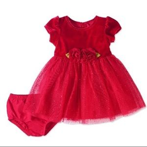 George Holiday Red Glitter Dress Sz 0-3M